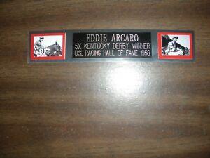 EDDIE ARCARO (JOCKEY) ENGRAVED NAMEPLATE FOR PHOTO/DISPLAY