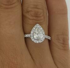1.15 Ct Pave Halo Pear Cut Diamond Engagement Ring VS2 F White Gold 18k