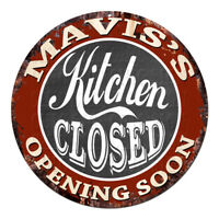 CWKC-0677 MAVIS'S KITCHEN CLOSED Chic Tin Sign Decor Mother's day Gift