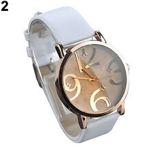 Womens Fashion Sanwood Quartz Beige Face And White Band Wrist Watch