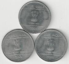 3 DIFFERENT 1 RUPEE COINS from INDIA (ALL DATING 2008.MINT MARKS of B, H & N)