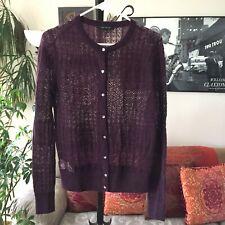 ANN TAYLOR sz M Deep Plum Soft Mohair Blend Cardigan Sweater