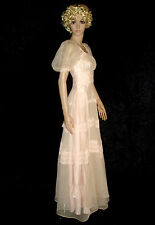 VINTAGE 1930'S DUSTY PINK CHIFFON AND LACE FULL LENGTH GOWN DRESS