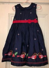 JoJo Maman Bebe Girls Blue Robin Holly Christmas Jumper Dress Sz 2-3Y