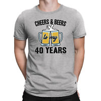 Mens 40th Birthday T-Shirt CHEERS and BEERS to 40 Years Old Funny Gift Present