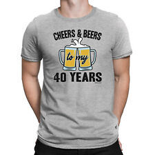 Mens 40th Birthday ORGANIC T-Shirt CHEERS and BEERS to 40 Years Old Funny Gift