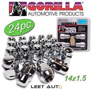 (24pc.) Gorilla Guard Wheel Locks + Lug Nuts Combo, 14x1.5, Bulge Acorn, Chrome