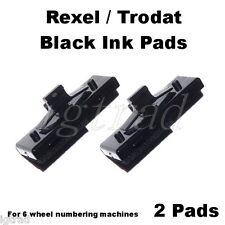 2 X PASTIGLIE di inchiostro nero per 6 RUOTE numerazione Macchine REXEL UN12/15 TRODAT 5746/5756