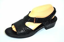 Sas Suntimer Black Patent Leather Croc Embossed Slingback Sandals Shoes Sz 9.5N
