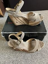 Miss Sixty Beige Taupe Suede Leather Wooden Look Wedge Platform Sandal Size 5