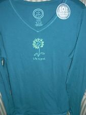 """NWT LIFE IS GOOD WMN L/S VEE TEE  """"EARTH DAISY""""  FOR THE FLOWER IN YOUR LIFE (L)"""