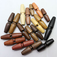 10pcs Wooden Duffle Coat Toggle Buttons Sewing 1Hole Button 40/60mm Multicolor