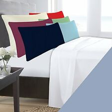 DOUBLE BED LIGHT BLUE BASE VALANCE SHEET POLYCOTTON 180 THREAD COUNT PERCALE