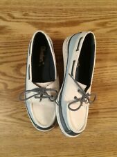 Skechers Womens Leather Nautical Shoes Size 9 Blue & White