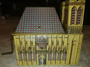 Vintage Antique German Tin Church Wind Up Toy Organ Hymn Music D.R.A.M. Germany