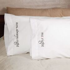 Mr. and Mrs. Right Embroidered Pillowcases Bridal Shower Wedding Gift - Set of 2