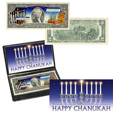 Gold $2 Two Dollar Bill Federal Reserve Note HANUKAH COLORIZED Limited Edition!!