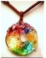 Exquisite Chinese jade LIULI fish necklace pendant