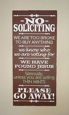 No Soliciting Unless You're Selling Thin Mints Girl Scouts Sign Decoration Gift