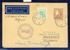 42591) KLM FF Amsterdam - Belgrad 15.4.57 feeder mail card Belgien