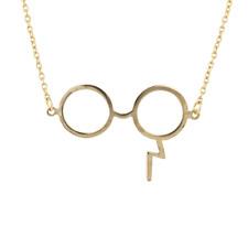 Lux Accessories Gold ToneHarry Potter Glasses Lightning Bolt Scar Necklace