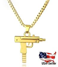 Gold Tone UZI Machine Gun Stainless Steel Revolver Necklace Chain Supreme