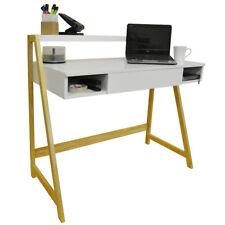 Retro Office Desk / Computer Workstation / Dressing Table - Pine / White OF0217L