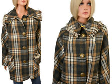 Vintage 60s PLAID CAR COAT Fringe Stroller Boho MOD Jacket ILGWU Wool-like L