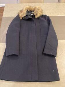Crewcuts J.Crew girls wool coat with fur trim Size 16 Navy Blue
