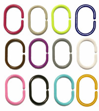 12 X Shower Curtain Rings Hooks Bathroom Plastic Strong Pole Rail Guide Hanger