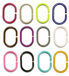 12 X Shower Curtain Rings Hooks Bathroom Plastic Strong Pole Rail Guide Hanger