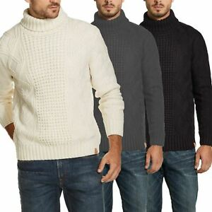 Mens Roll Turtle Polo Funnel Neck Jumper Chunky Cable Knitted Sweater Top Warm