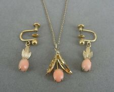 Vintage Faux Coral Gold Fill Dainty NECKLACE and Screw Back EARRINGS Set