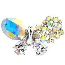 Made With Sparkly AB Swarovski Crystal Rhinestone Zircon Butterfly Brooch Pin