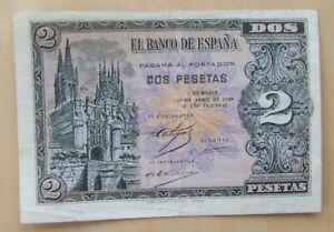 Spain banknote 2 pesetas dated 1938