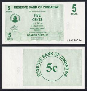 Zimbabwe 5 cents 2007 FDS-/UNC-  A-02