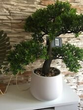 Artificial Bonsai tree Garden House Plant Flower Green 32 cm In White Flower Pot