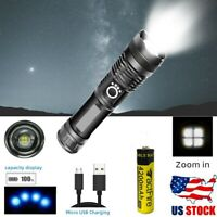 Super-bright XHP90 LED 90000lm Flashlight 18650 USB Rechargeable Zoom Torch US