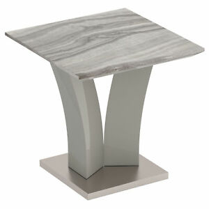 Isaac Geometric MDF Base Wrapped in Stainless Steel Modern Accent Table in Grey