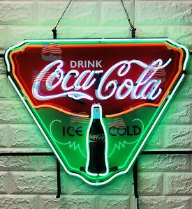 "Drink Coca Cola Ice Cold Neon Light Sign 19""X15"" Beer Lamp Bar Decor Windows"