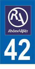 Département 42 MOTO 1 autocollant style plaque moto 3 x 6 cm RHONE ALPES LOGO RA