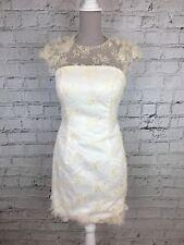 Women's Mini Dress Cream Sleeveless Lace Overlay Sheer Party Cocktail UK 10/12