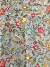 15 Yards Vtg Barkcloth Fabric Gray Red Blue Yellow Flowers Floral Bark Cloth