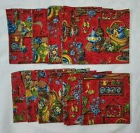 12 Vintage Tuscan Colonial Retro Kitchen Napkins Red Blue Rooster Grapes Fruit