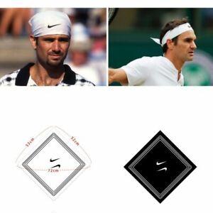 Nike Swoosh Tennis Sports Sweat Hair Bandana White 10ea