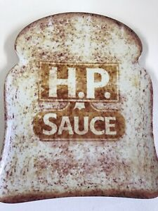 Official HP Sauce Ceramic Plate Big Slice of Toast Bread Retro Style Platter