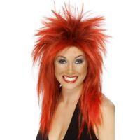 Rock Diva Wig Ladies Fancy Dress Punk 1980s 80s Accessory Bright Red