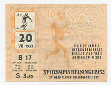 Orig.ticket   Olympic Games Helsinki 1952 - 20.07. /  with 3 Final`s  !!  RARITY