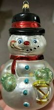 """Ornament Glass Blown Snowman Top Hat Cigar Pipe Christmas 6 1/2""""H ColomBia"""