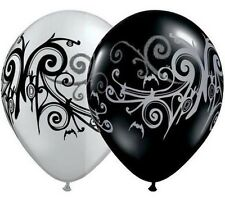 28cm Goth Scroll Assorted Silver & Black Latex Balloon Q37459 Party